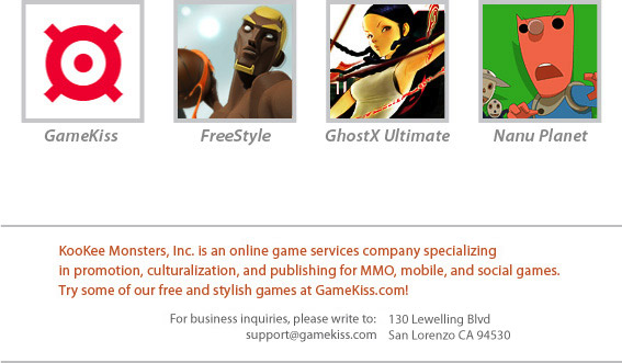 KooKee Monsters, Inc. is an online game services company specializing in promotion, culturalization, and publishing for MMO, mobile, and social games. Try some of our free and stylish games at GameKiss.com!